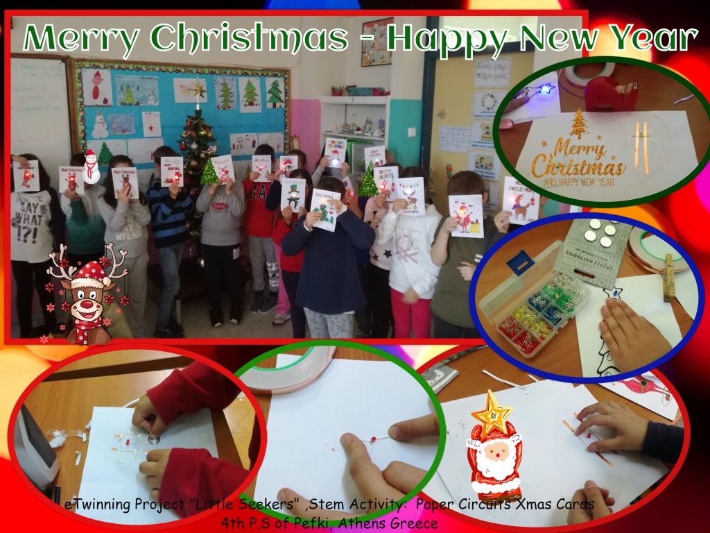 collage-paper circuits Xmas cards